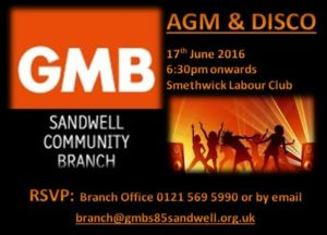GMB Sandwell AGM/Disco details