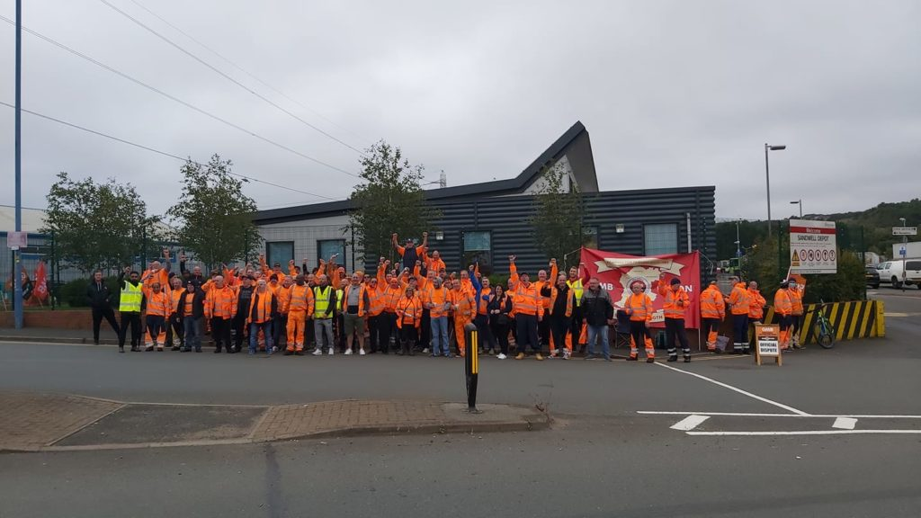 GMB members on strike at Serco